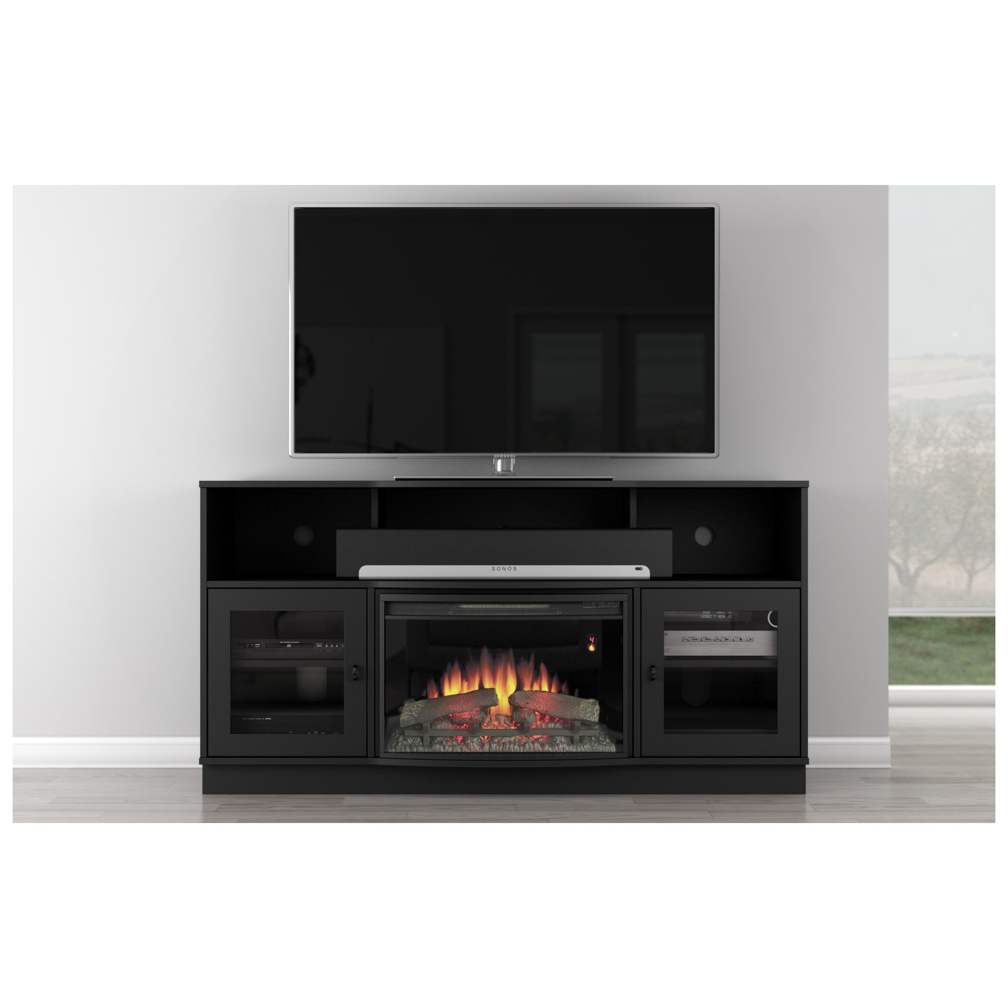 Curved Electric Fireplace 66
