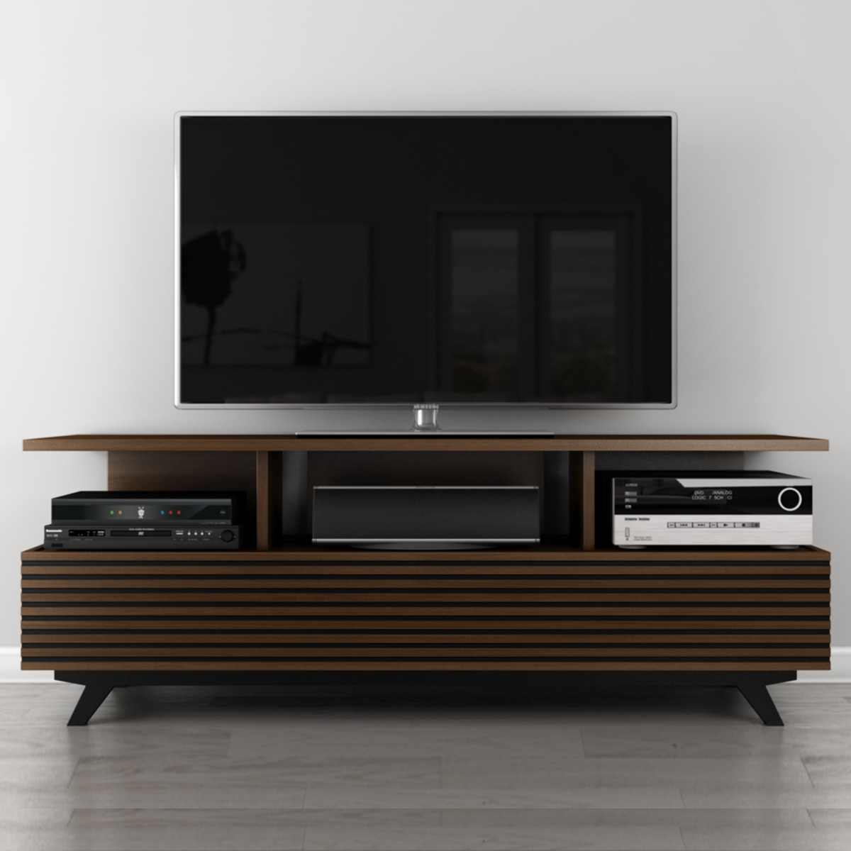 Modern Tv Mid Century Modern Tv Stand Media Console In Cognac By Furnitech
