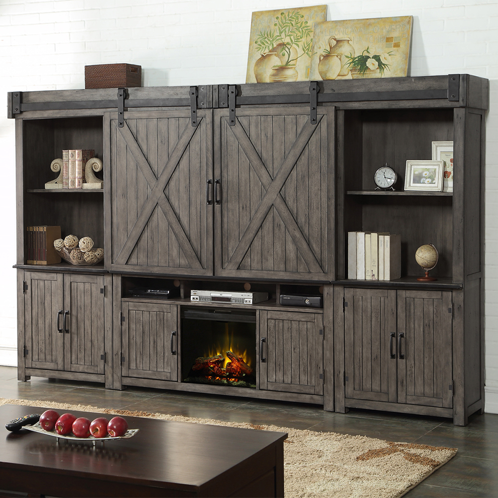 Fireplace Wall Units Storehouse 5 Piece Fireplace Wall Unit W Sliding Barn Doors In Distressed Smoked Grey By Legends Furniture