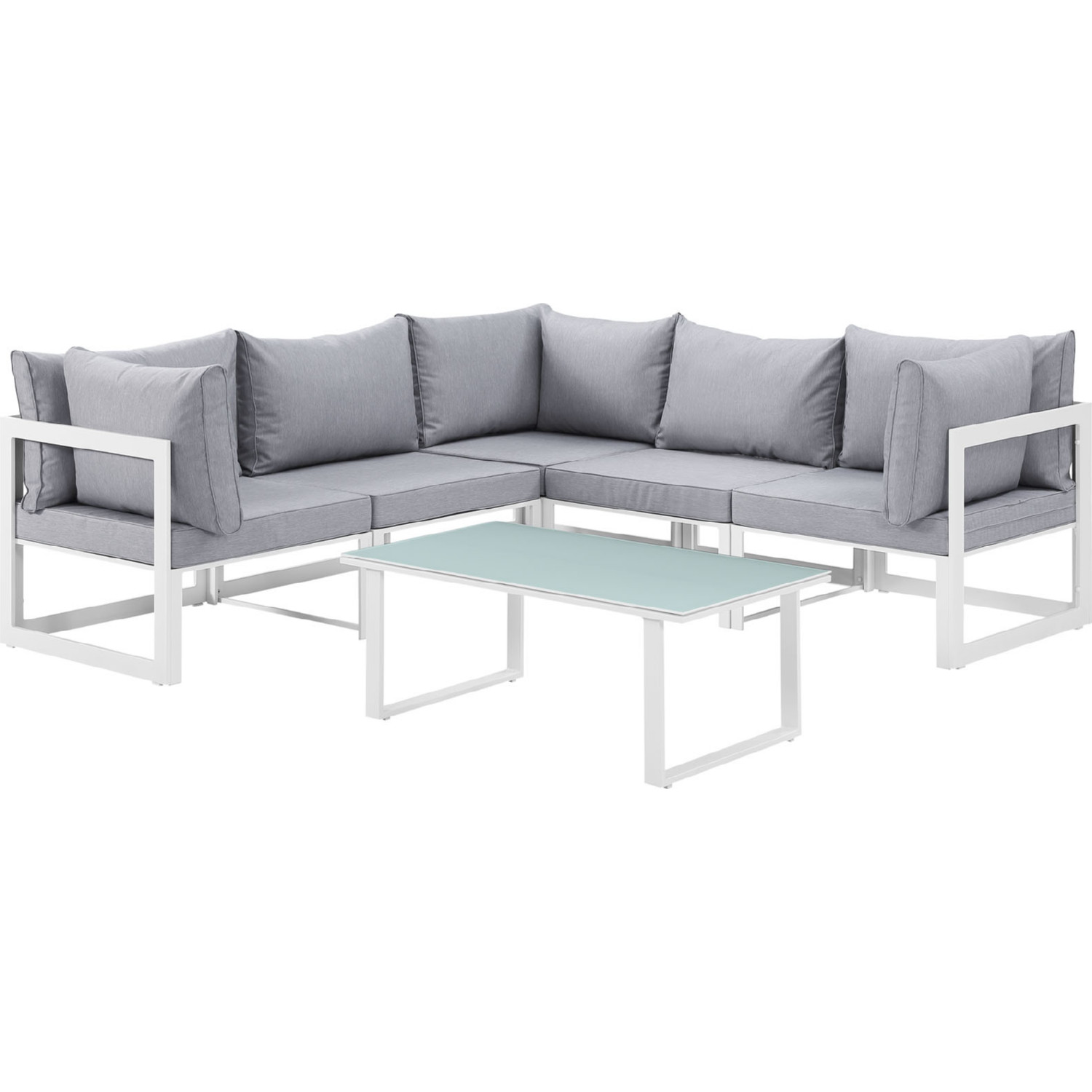 Sofa Set Action Fortuna 6 Piece Outdoor Patio Sectional Sofa Set In White W Gray Cushions By Modway