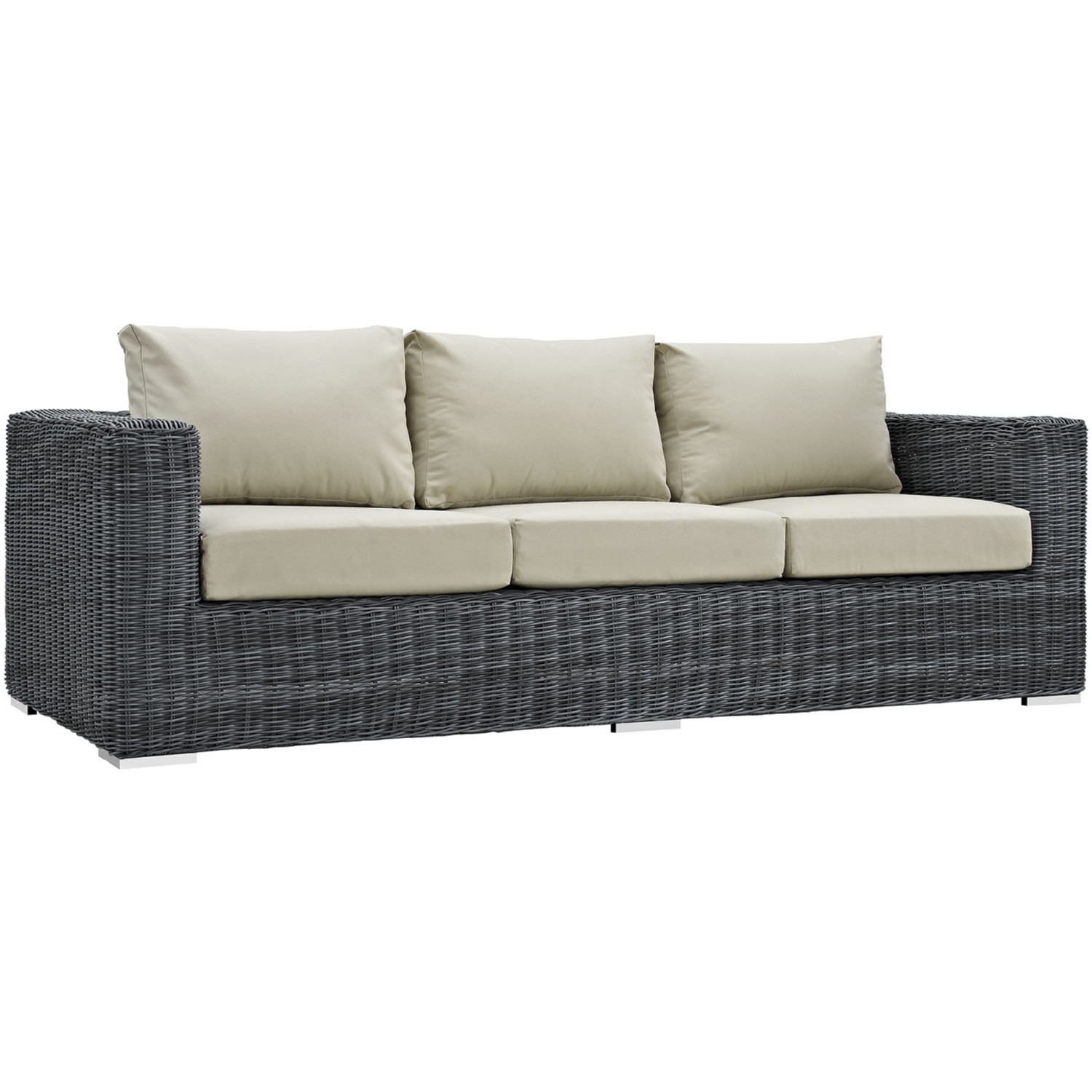 Polyrattan Sofa Summon Outdoor Patio Sofa In Canvas Poly Rattan W Antique Beige Sunbrella By Modway