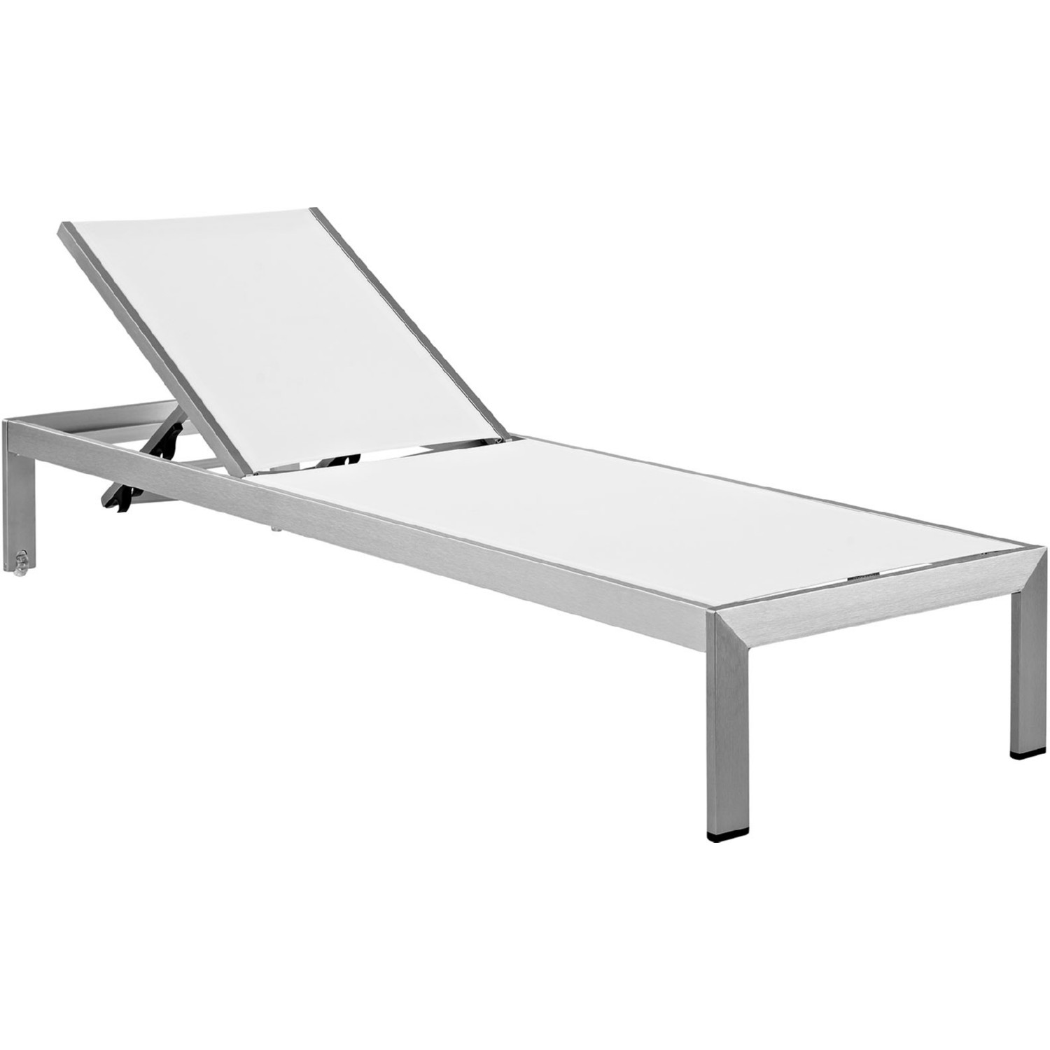 White Plastic Sun Loungers Shore Outdoor Patio Aluminum Chaise In Brushed Silver W White Textilene By Modway