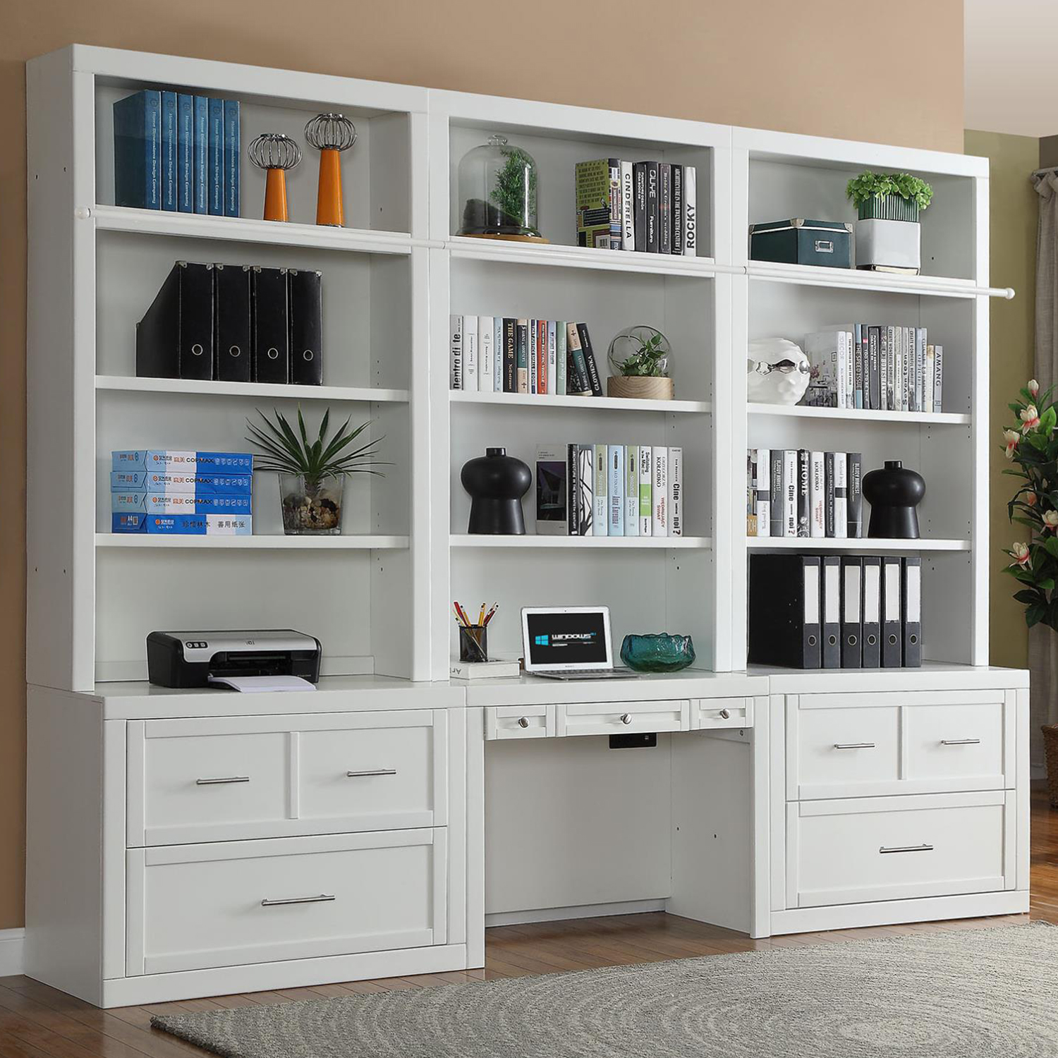 Desk With File Cabinet Catalina 7 Piece Desk File Cabinet Bookcase Wall In Cottage White By Parker House