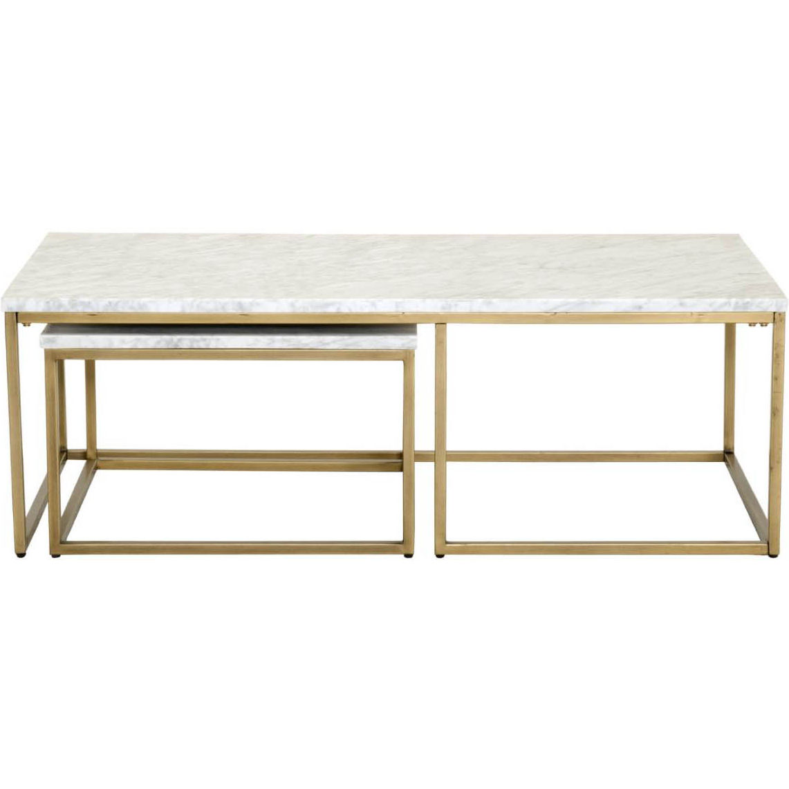 Gold Nesting Coffee Table Carrera Nesting Coffee Table In White Marble On Brushed Gold By Orient Express Furniture