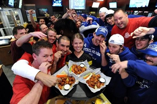 Steelheads celebrate with Buffalo Wild Wings Mississauga