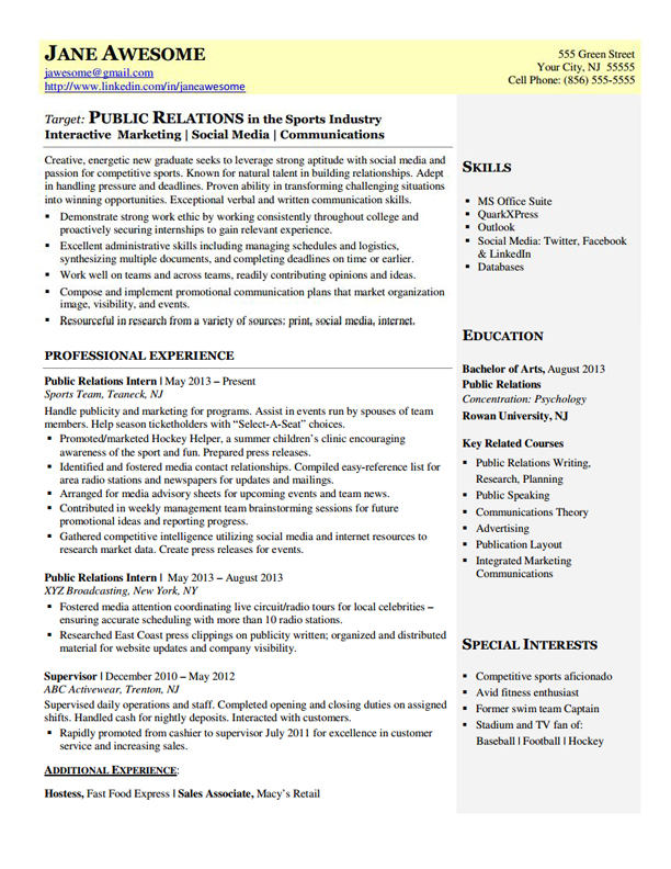 Public Relations Entry Level Dynamic Resumes of NJ - Entry Level Resume