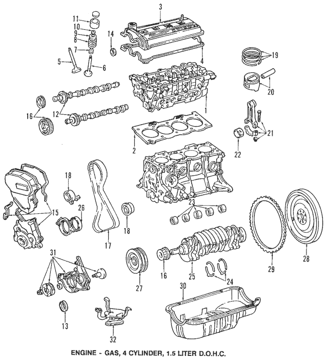 toyota paseo 22l dohc engine components car parts diagram