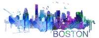 Boston Art Skyline Watercolor Decal Sticker ...