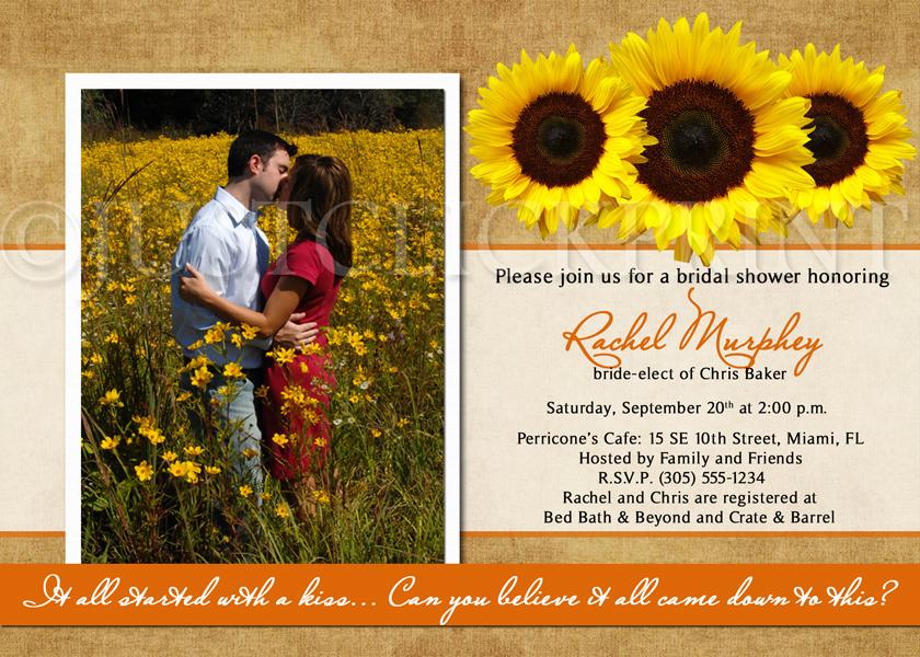 Canvas Sunflowers Bridal Shower Invitation Photo Printable · Just