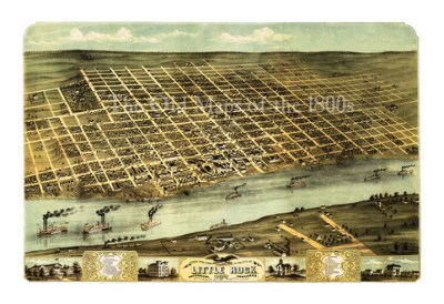 Little Rock, Arkansas in 1871 - Bird's Eye View, Aerial, Panorama, Vintage, Antique Map ...