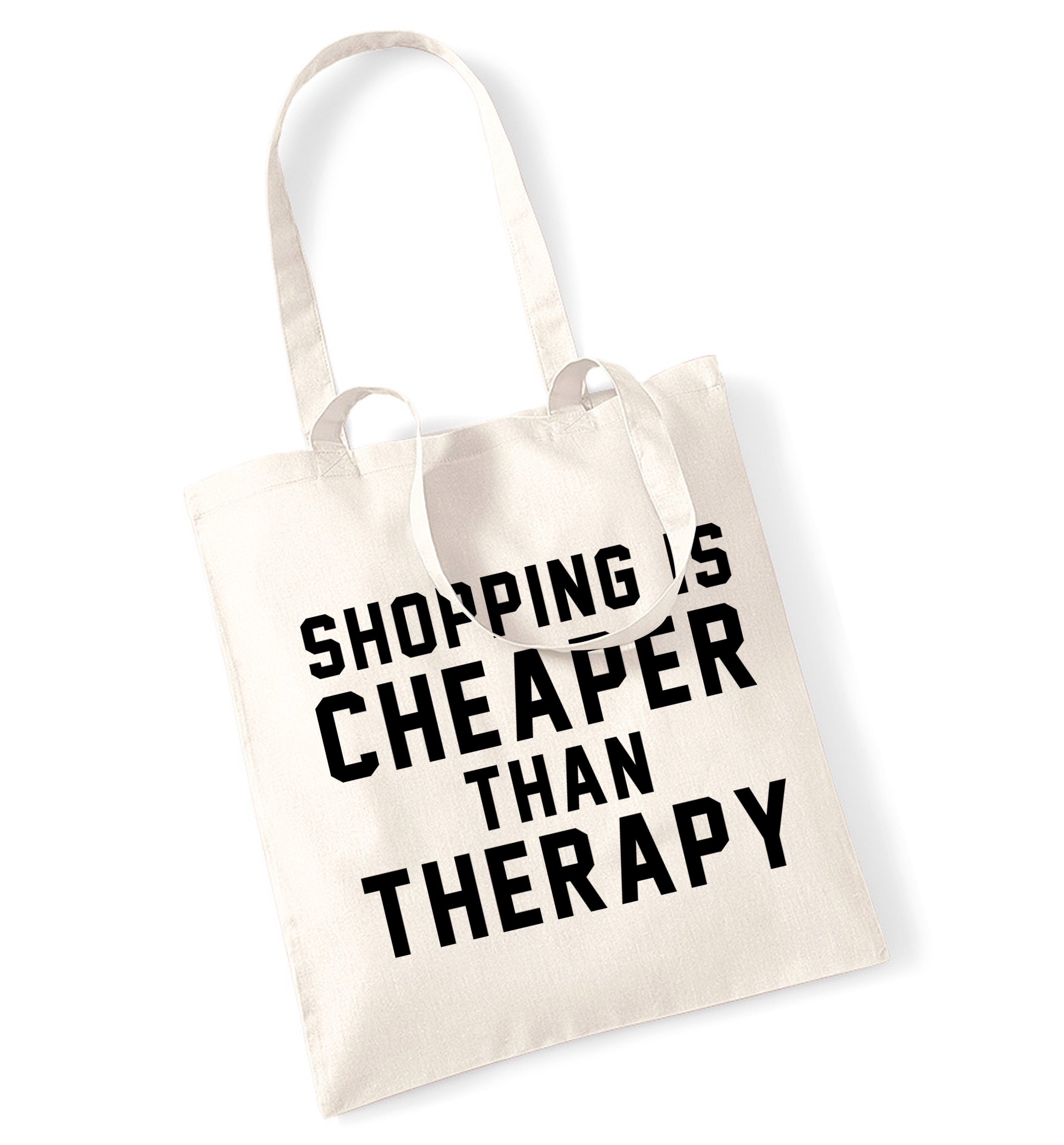 The Online Joke Shop Shopping Is Cheaper Than Therapy Tote Bag Tumblr Instagram