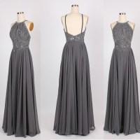 Grey prom dress, backless prom dress, beautiful prom dress ...