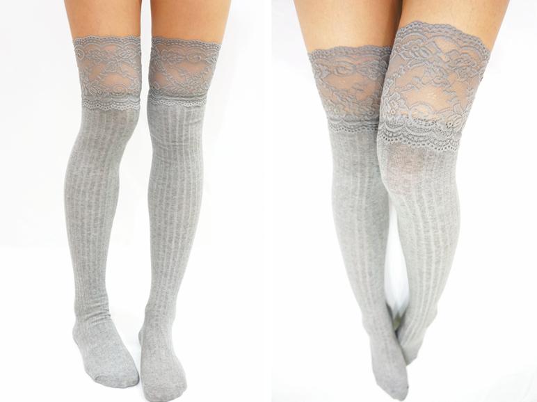 Thigh Lace Knit Knee High Socks Boot Socks Light Grey