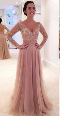 Long sleeve prom dresses, lace prom dresses, tulle prom ...