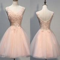 Open Back Handmade Short Homecoming Dresses,Blush Pink V ...