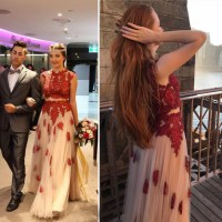 Two pieces prom dress,Red lace applique prom dress,Junior ...