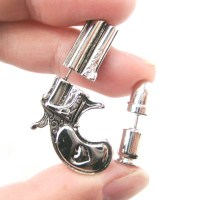 Fake Gauge Realistic Gun and Bullet Shaped Stud Earrings ...