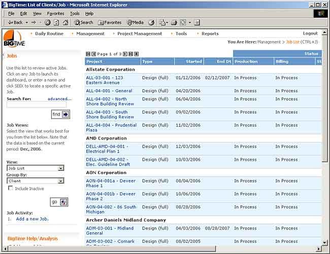 Project Lists BigTime IQ Enterprise User Manual