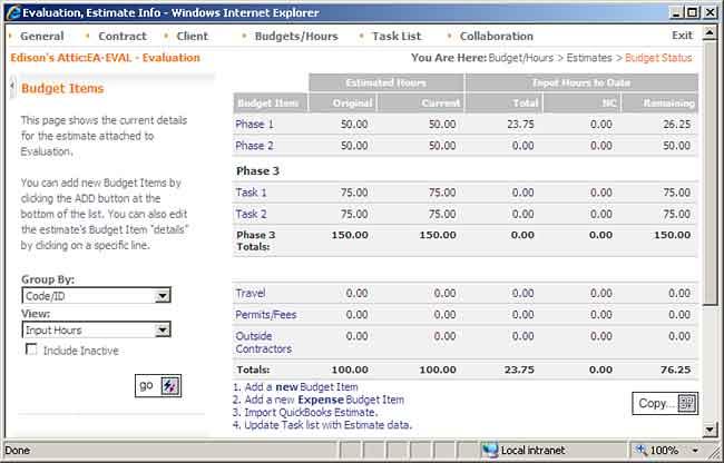 Time/Expense vs Estimate Budget BigTime Enterprise User Manual - budget log