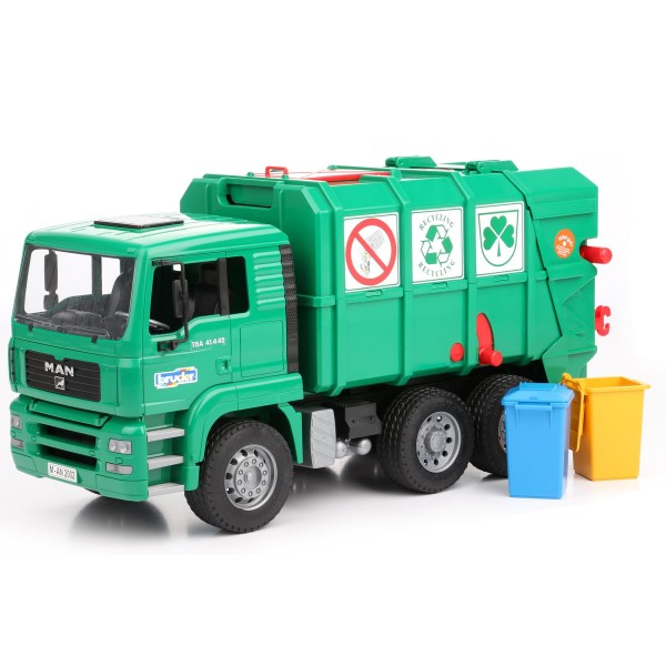 Toy Diggers Toys R Us Bruder 1 16 Man Tga Garbage Truck Rear Loading Green At