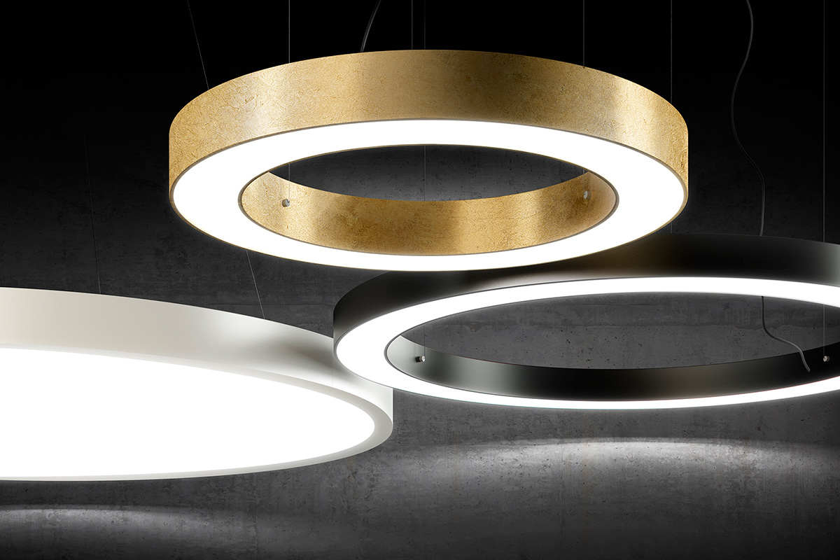 Fabian Flache Led Deckenleuchte Golden Ring 183 Black Out Sas Luce E Design