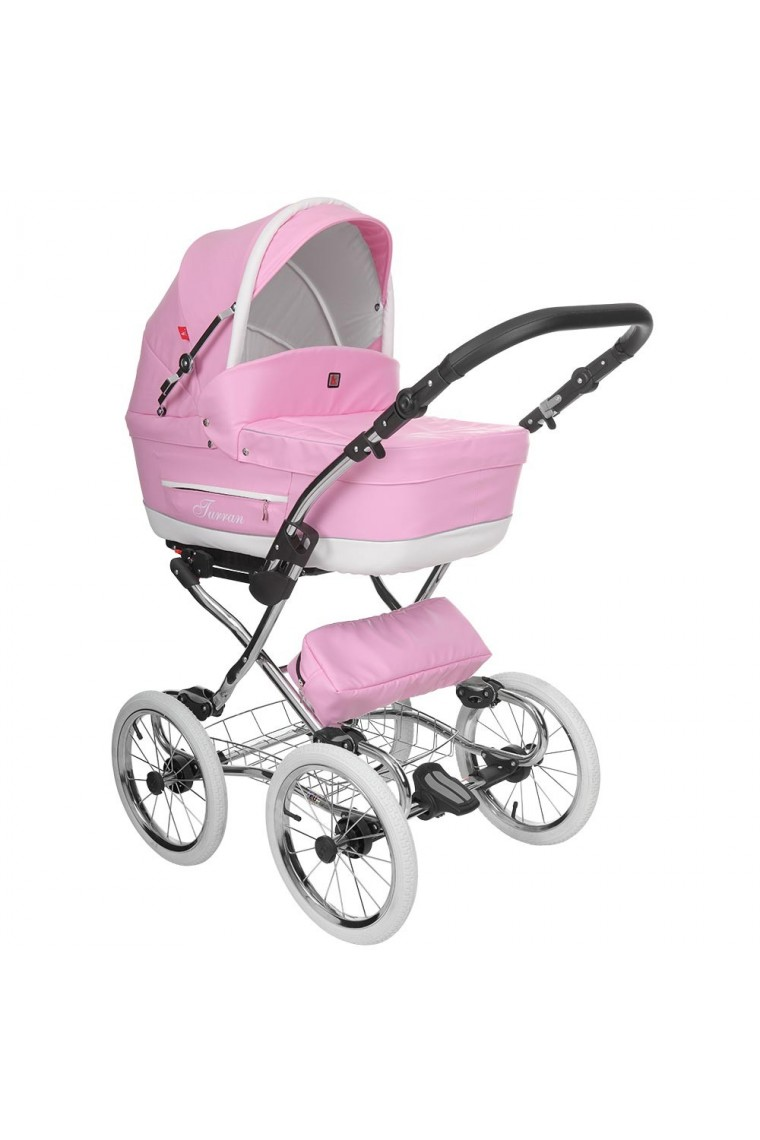Baby Stroller Pram Classic Pram Turran Eco Pink Leather 3 In 1 Travel System