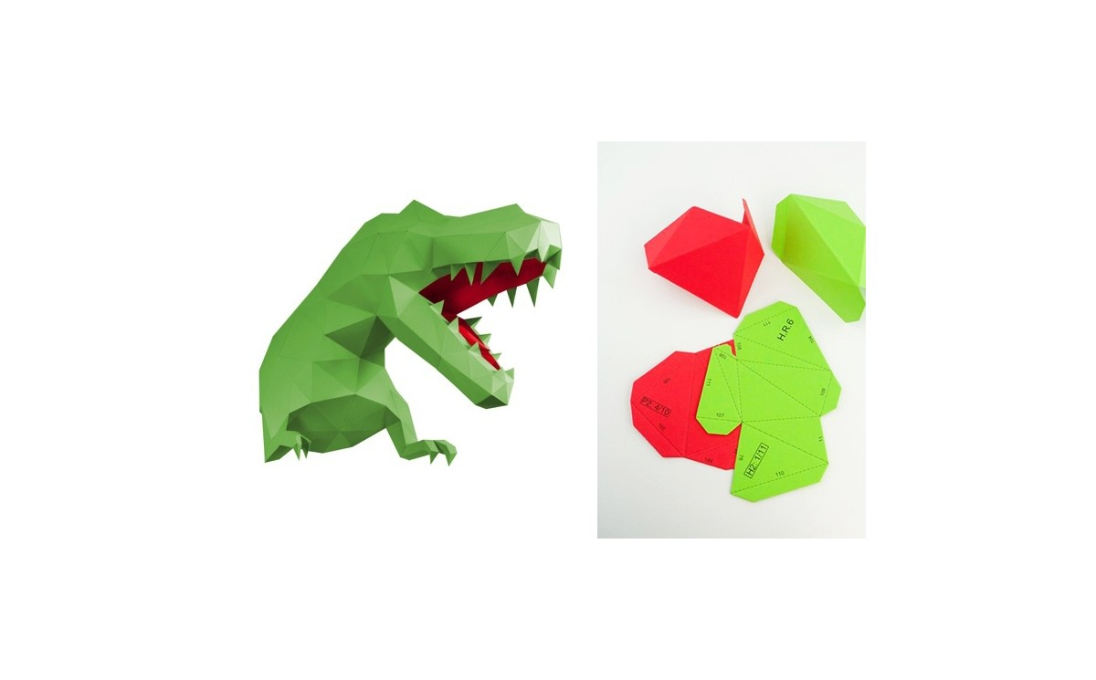 Papertrophy Origami Wall Trophies, Green Paper Dinosaur T-rex L