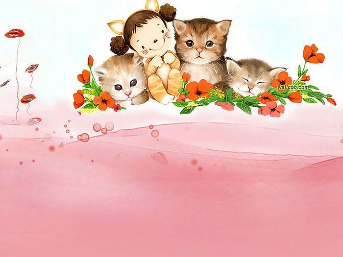 Korean Girl Cartoon Wallpaper 求一些童真可爱有点幼稚的图片 百度知道