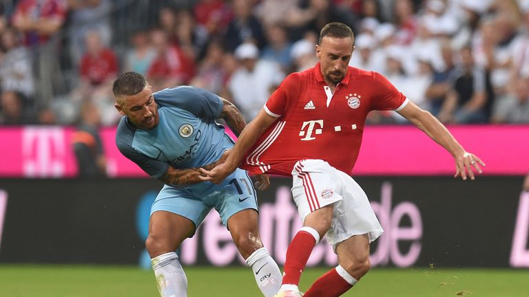 Franck Ribery (right) was very bright in the first half for Bayern Munich
