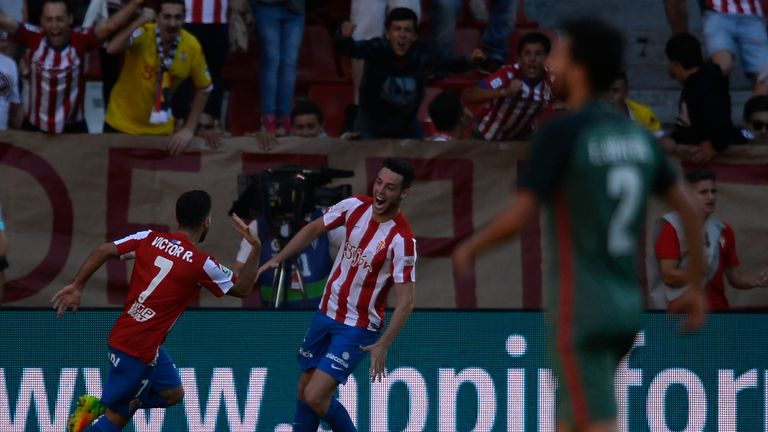 Gijon's 2-1 victory was marred by the ugly scenes in the first half