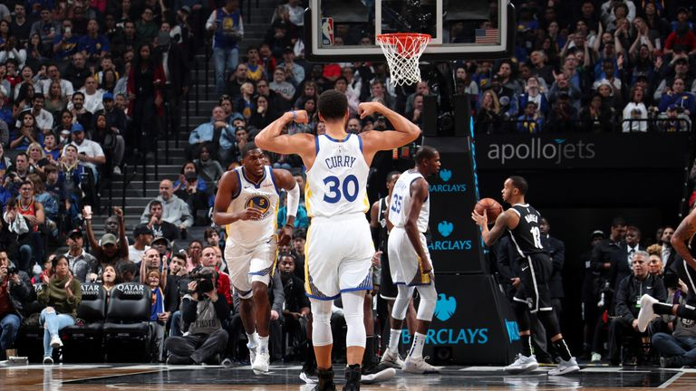 Steph Curry and Kevin Durant lead the way as Golden State Warriors resist late Brooklyn Nets ...