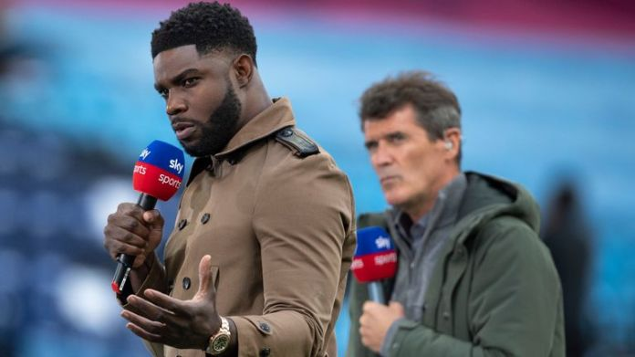 MANCHESTER, ENGLAND - JULY 02: Sky TV presenters Micah Richards and Roy Keane before the Premier League match between Manchester City and Liverpool FC at Etihad Stadium on July 2, 2020 in Manchester, United Kingdom. (Photo by Visionhaus)