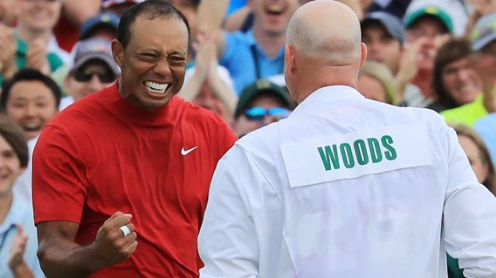 Tiger Woods rolled in his winning putt around 7.30pm UK time in 2019