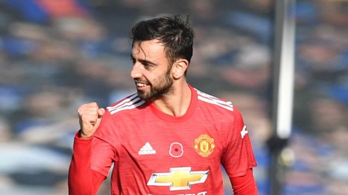 Bruno Fernandes scored twice in a crucial 3-1 win at Everton before the international break