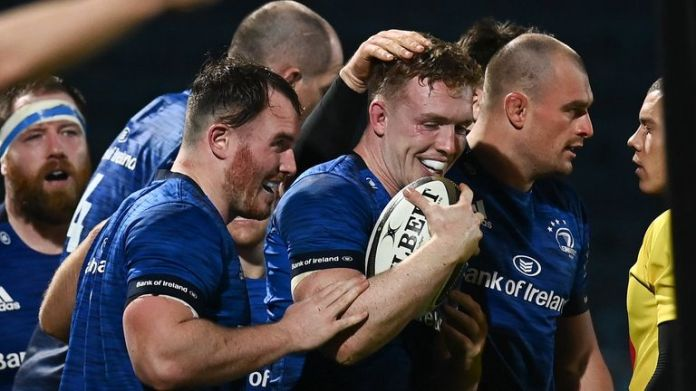 Dan Leavy was among the try scorers as Leinster crushed Edinburgh on Monday to seal their sixth bonus-point win in a row