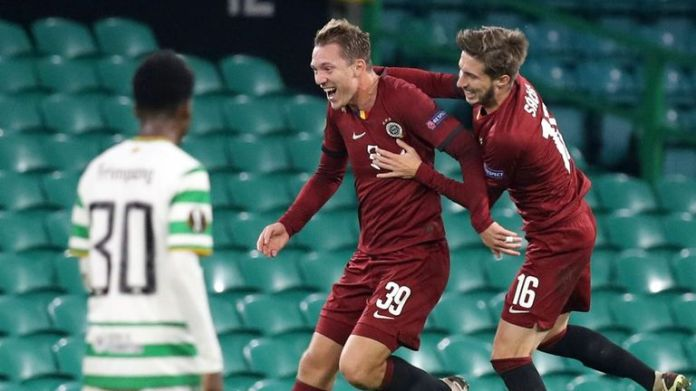 Sparta Prague's Lukas Julis celebrates his second strike against Celtic