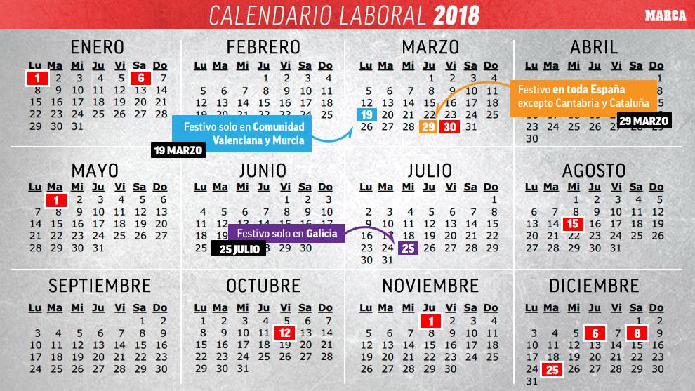 Calendario 2018 Calendario laboral España 2018 todos los festivos