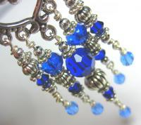 Ocean Blue Crystal Chandelier Earrings on Luulla