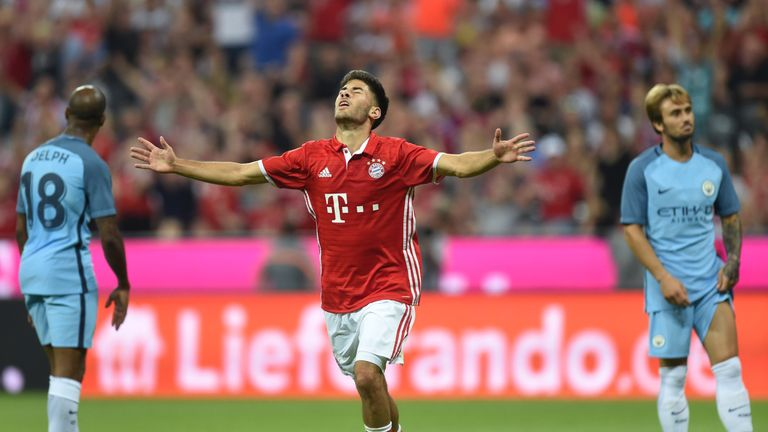 Bayern Munich's Erdal Ozturk celebrates scoring against Manchester City