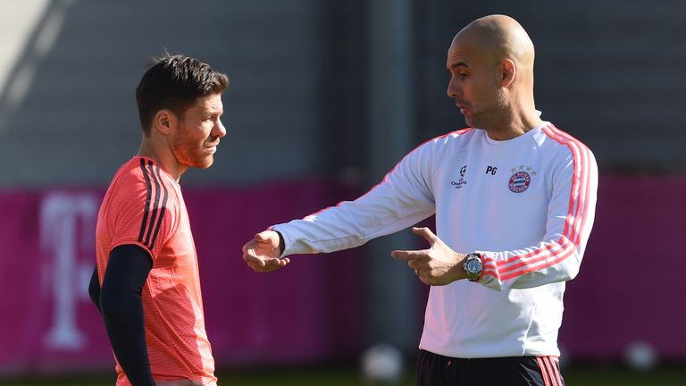 Guardiola worked with Xabi Alonso (left) at Bayern Munich
