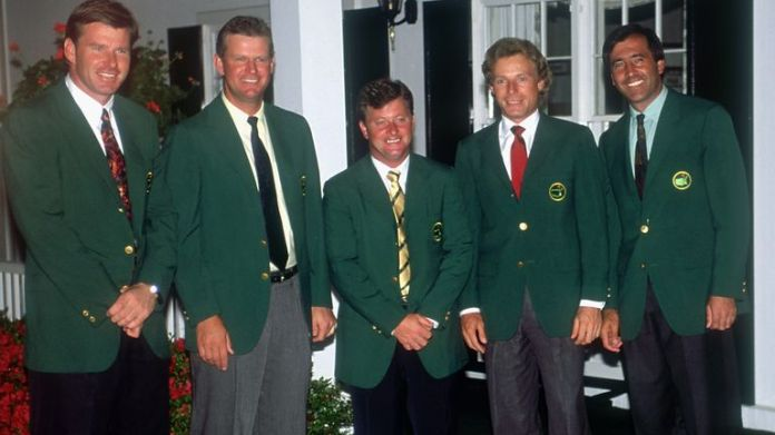 Past European winners of the Masters Nick Faldo (1989, 90, 96), Sandy Lyle (1988), Ian Woosnam (1991), Bernhard Langer (1985, 93) and Seve Ballesteros (1980, 83) pose for the cameras during the 1992 Masters