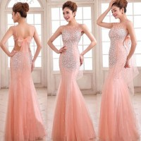 Sleeveless Fit And Flare Prom Dress, Beaded Blush Prom ...