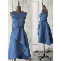 Vintage Horizon Blue Bridesmaid Dresses, Modest Scoop Neck ...