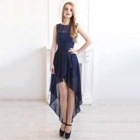 Bateau Neck Illusion Navy Blue Bridesmaid Dress ...
