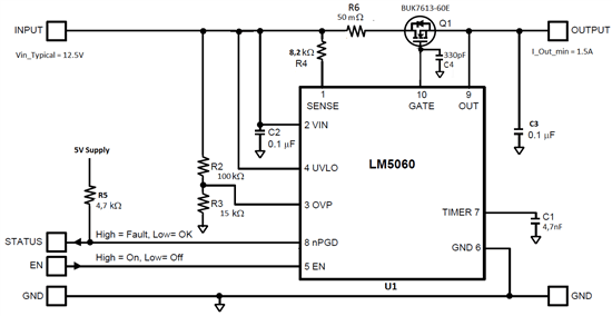 lm5060 does not detect over current during output short circuit to
