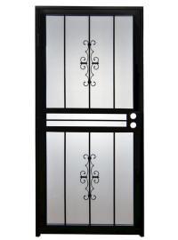 """Tru-Bolt 501 36"""" x 80"""" Black Steel Prehung Security Door ..."""