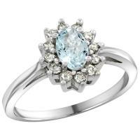 KLENOTA | Aquamarine ring with diamonds in white gold ...