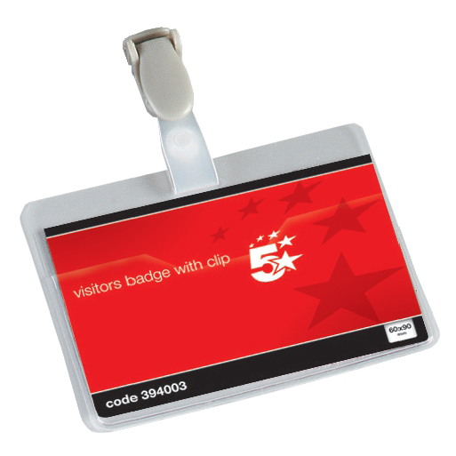 5 Star Office Name Badges Visitors Landscape with Plastic Clip