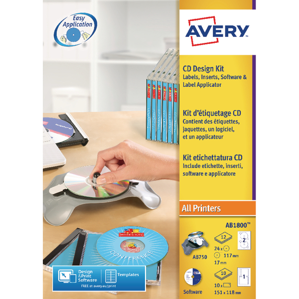 Avery AfterBurner CD/DVD Label System Kit AB1800 - Officestuffie