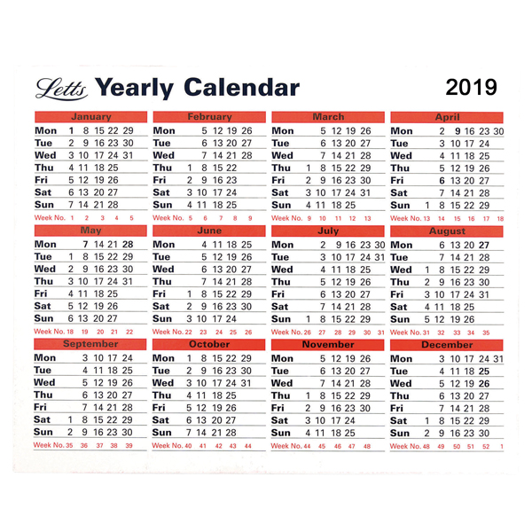 Letts Yearly Calendar 2019 5-TYC - Futurform Office - yearly calendar